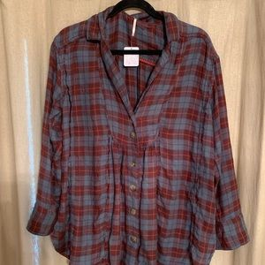 Free People Tahoe Plaid Button